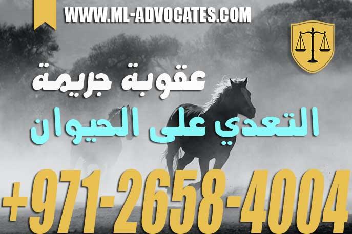 عقوبة جريمة التعدي على الحيوان في قانون العقوبات دولة الإمارات العربية المتحدة